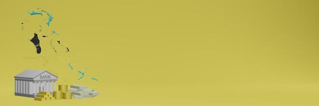 O banco com moedas de ouro nas bahamas para capas de plano de fundo de tv e site de mídia social pode ser usado para exibir dados ou infográficos em renderização 3d.