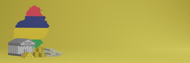 O banco com moedas de ouro nas ilhas maurício para capas de plano de fundo de tv e site de mídia social pode ser usado para exibir dados ou infográficos em renderização 3d.