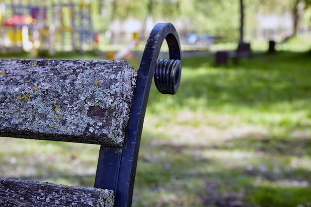 O banco do parque está coberto de líquen e musgo.