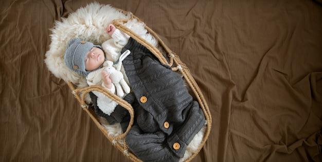 O bebê dorme docemente em um berço de vime com um chapéu de malha quente sob um cobertor quente com um brinquedo em sua alça.
