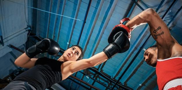 O boxeador feminino e afro-americano masculino boxer.