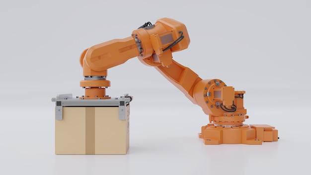 O braço de robôs laranja está carregando uma caixa de papelão.
