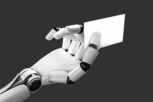 O braço do robô alimentando um cartão de visita em branco