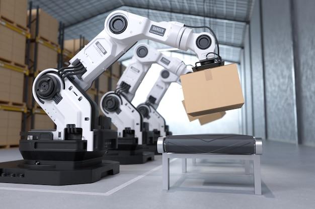 O braço do robô pega a caixa de papelão no armazém