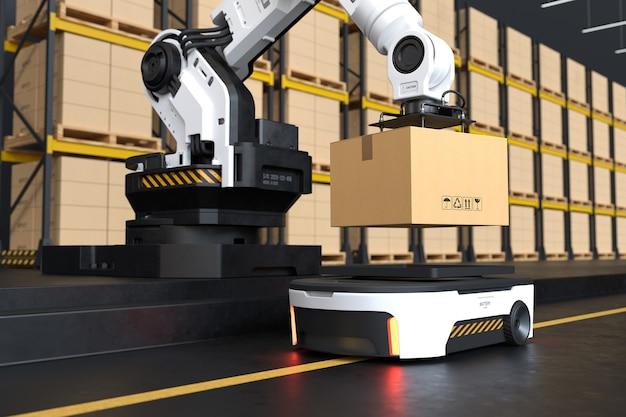 O braço do robô pega a caixa para autônomo