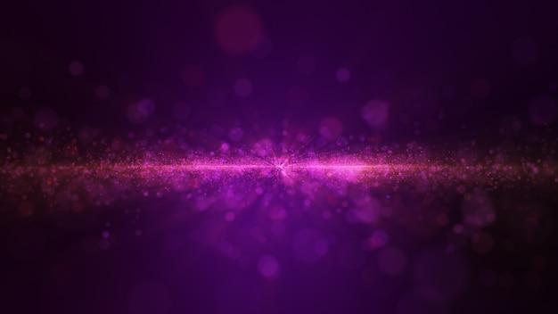 O brilho roxo da partícula de poeira do fulgor acende o fundo abstrato para a celebração.