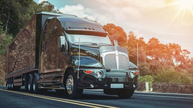 O caminhão circula na rodovia. renderização 3d e ilustração.