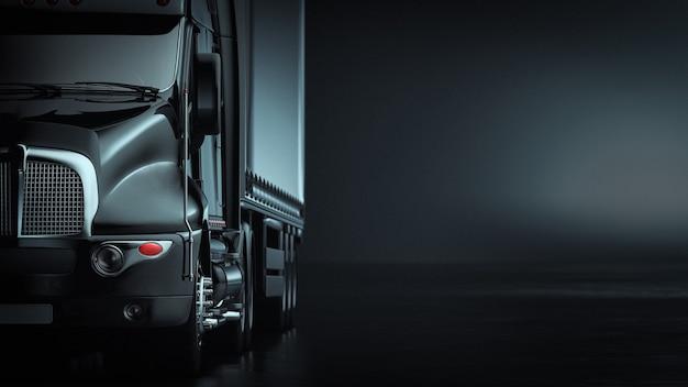 O caminhão no fundo preto. renderização 3d e ilustração.