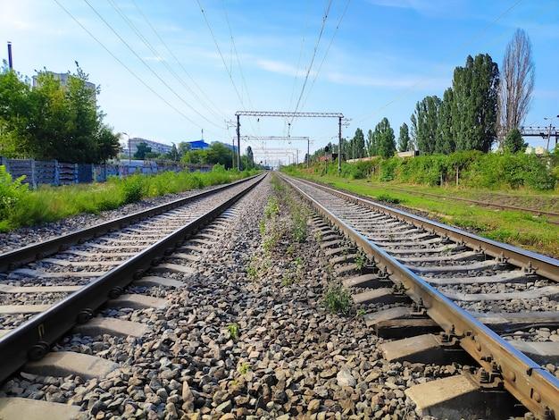 O caminho a seguir trilhos de trem em dia ensolarado.