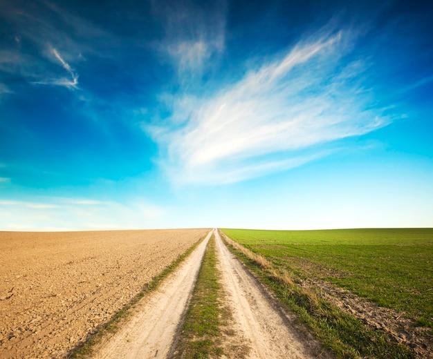 O caminho no meio do campo que separa o prado verde e o solo