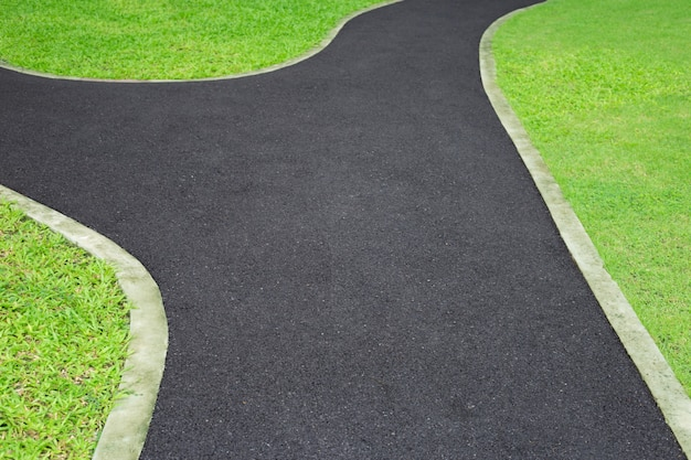O caminho no parque com grama verde.