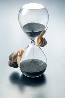 O caracol rasteja na ampulheta. tempo e estabilidade. a transitoriedade do tempo e a lentidão na escolha do sucesso. a natureza cíclica da vida.