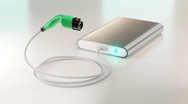 O carregador de ev da rendição 3d conecta com o banco do poder, conceito de carregamento móvel