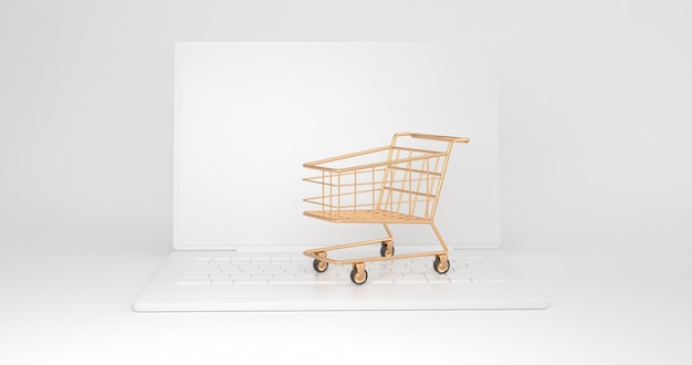 O carrinho de compras de ouro é colocado no laptop. renderização em 3d.