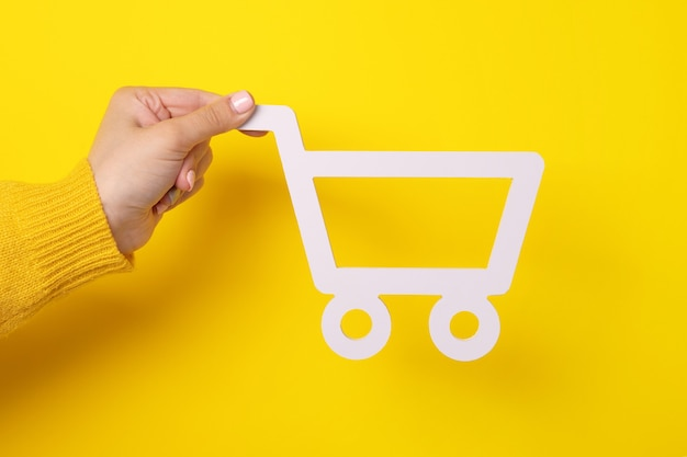 O carrinho de compras feminino entrega fundo amarelo