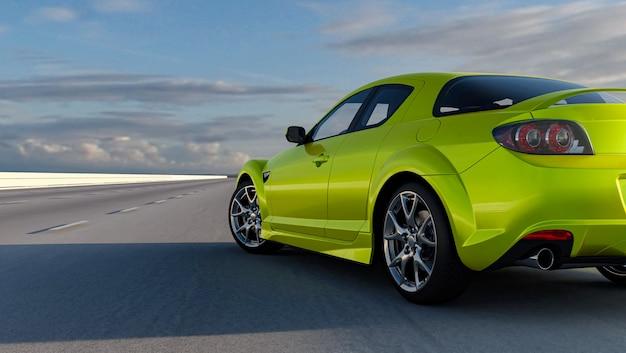O carro 3d sedan vale a pena em uma renderização 3d de estrada. close-up de roda