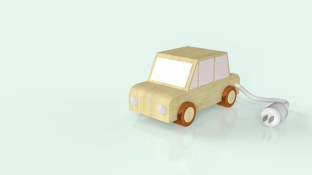 O carro de madeira e os plugues de energia ac para carro elétrico ou carro ev.