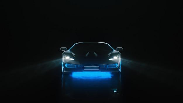 O carro esporte d render com luzes de néon vai para a câmera em um fundo preto