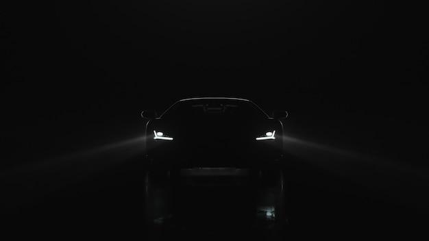 O carro esporte d render com luzes vai para a câmera em um fundo preto