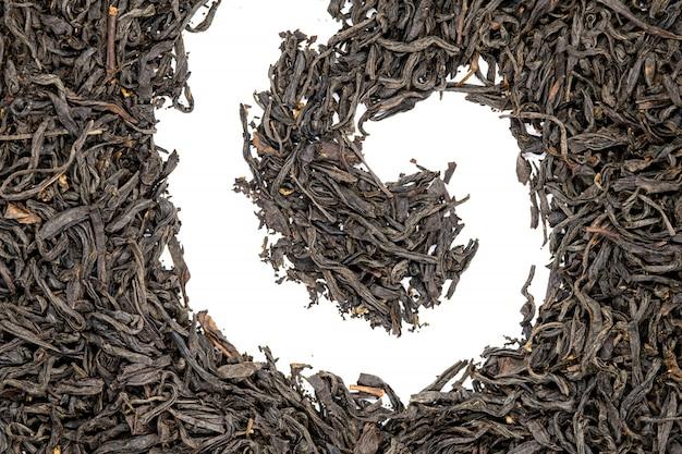 O chá do souchong de lapsang, espiral deu forma, ascendente próximo. s