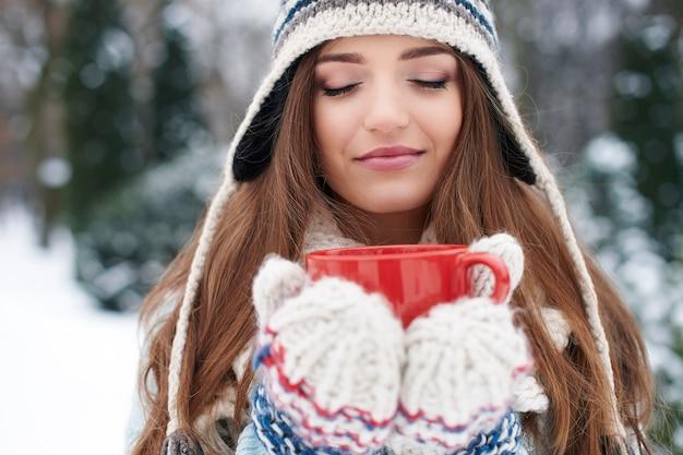 O cheiro de chocolate quente no inverno é ótimo