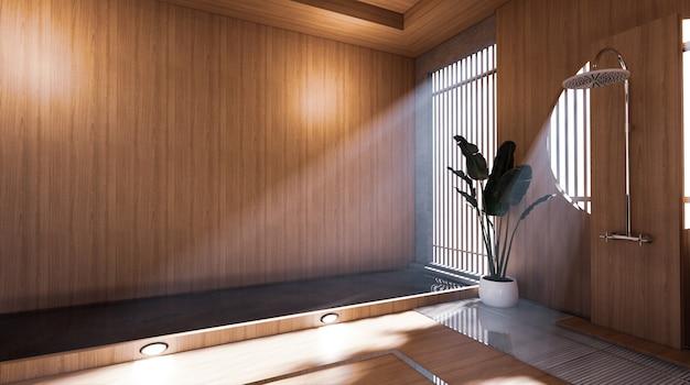 O chuveiro no banheiro japonês tem uma sala de design com piscina ao lado