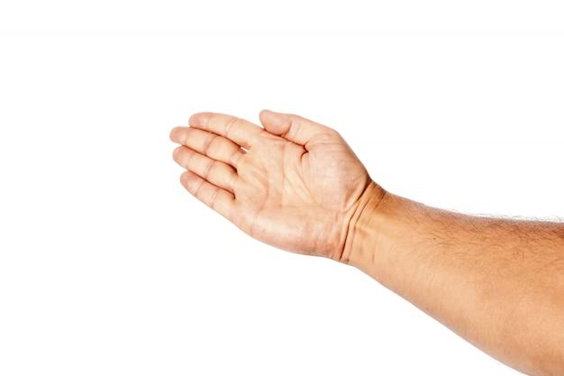 O close-up masculino da mão em um branco mostra o gesto de mão, palma. isolar.