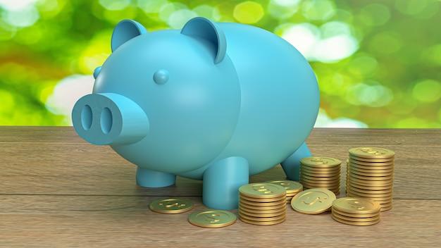 O cofrinho azul e moedas de ouro para conteúdo empresarial