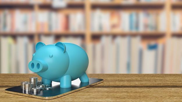 O cofrinho azul e moedas no tablet para renderização em 3d de conceito de negócios imobiliários