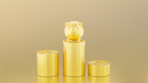 O cofrinho de ouro está na pilha de moedas de ouro com o cifrão