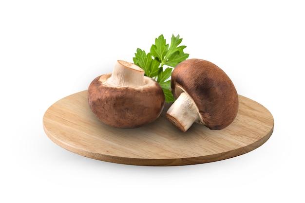 O cogumelo fresco cresce rapidamente no close up com salsa verde da folha na placa de madeira.
