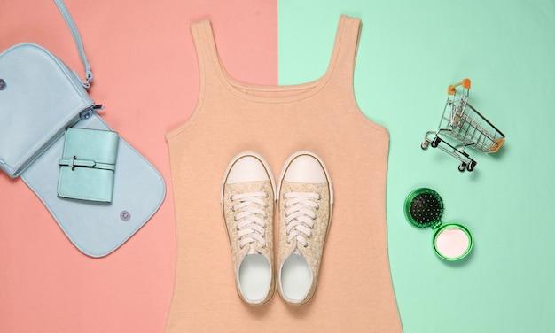 O conceito de compras de roupas e acessórios femininos