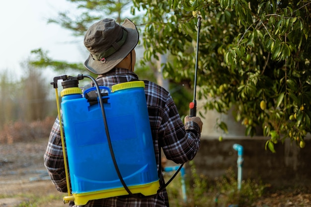 O conceito de jardinagem é um jardineiro do sexo masculino que se livra de insetos pulverizando um inseticida orgânico em todas as árvores.