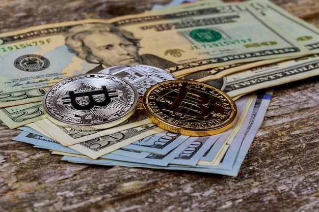 O conceito de moeda criptografada bitcoin e dólar