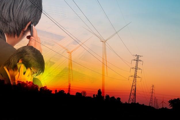 O conceito de negociação de energia alternativa, energia alternativa, conceitos de energia verde, energia elétrica de correntes eólicas por turbinas eólicas