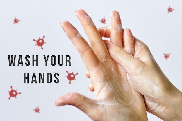 O conceito de proteção contra vírus covid-19 é lavar as mãos.