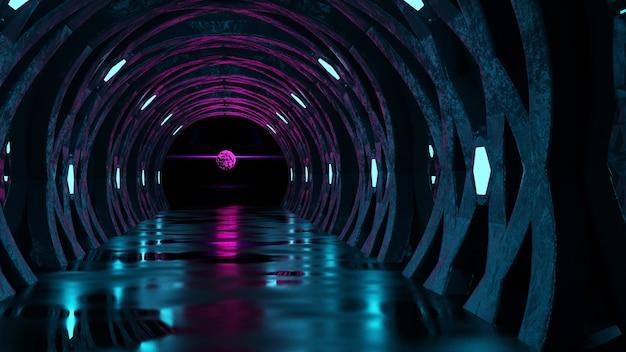 O conceito de uma perspectiva alienígena corredor com luzes de néon azuis renderização background.3d abstrato escuro