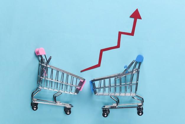 O conceito de vendas crescentes. carrinhos de compras com setas de crescimento em azul