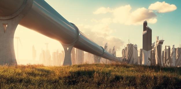 O conceito de viajar por hiperloop renderização 3d