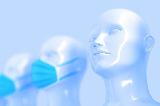 O conceito médico espalha infecção entre as cabeças brilhantes de manequins brancos, sem máscara, seguidas de outras cabeças com máscaras médicas azuis brilhantes. ilustração 3d