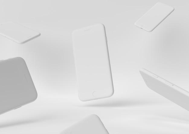 O conceito mínimo 3d do desktop branco do espaço de trabalho do papel da criação do projeto de iphone rende, a ilustração 3d.