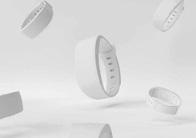 O conceito mínimo 3d do desktop branco do espaço de trabalho do papel da criação do projeto de smartwatch rende, a ilustração 3d.