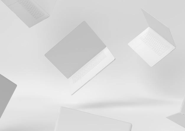 O conceito mínimo 3d do desktop branco do espaço de trabalho do papel da criação do projeto do portátil rende, a ilustração 3d.