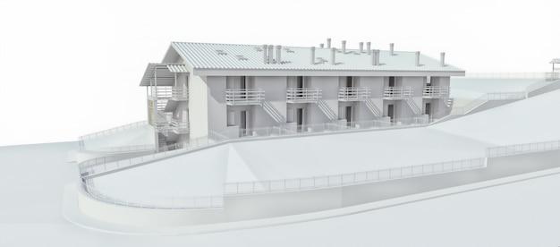 O condomínio para uma pequena cidade ou área rural. um pequeno motel, um hotel com garagem para os hóspedes. exterior de um edifício residencial em um espaço em branco. renderização em 3d.