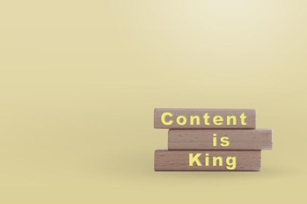 O conteúdo é rei na placa de madeira com espaço de cópia. conceito de negócios online.