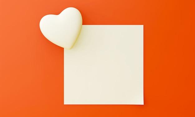 O coração branco está sobreposto no canto do papel quadrado em branco. para inserir texto em um fundo laranja. doce conceito dos namorados.