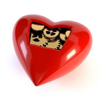 O coração do mecanismo, isolado em um fundo branco.