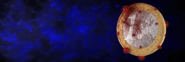 O coronavirus afeta o conceito de mercado global de ações. ilustração 3d