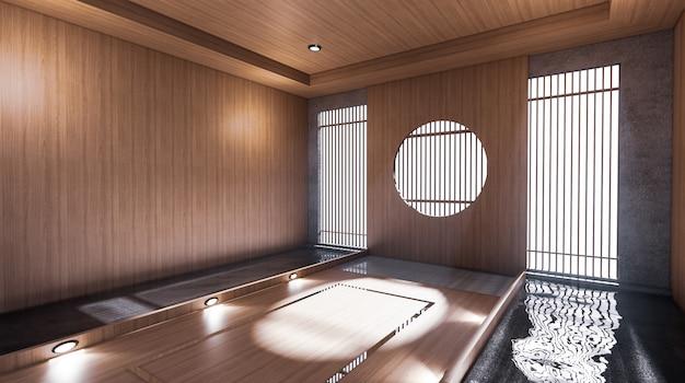 O corredor, como um quarto japonês, tem uma sala de design de piscina ao lado