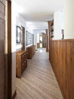 O corredor em estilo loft com painéis de madeira e pinturas nas paredes com console de madeira